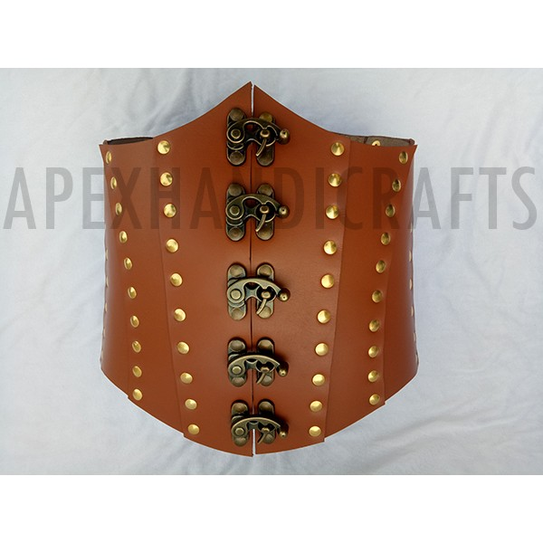 Clasped Leather Steampunk Corset with Brass fittin...