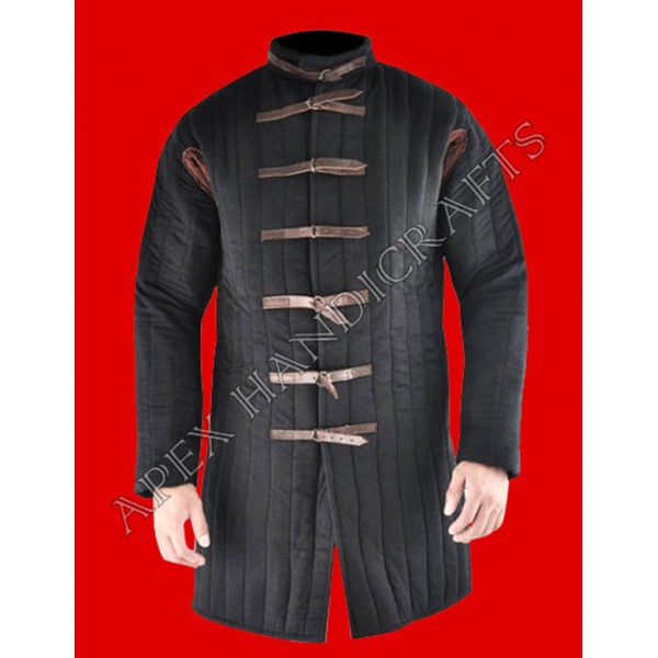 Medieval black gambeson with brass buckles   APX-9...