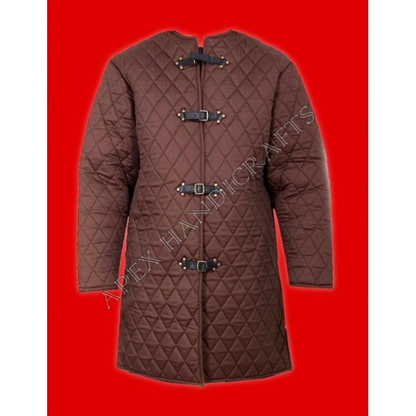 Medieval brown  gambeson with buttons  APX-915