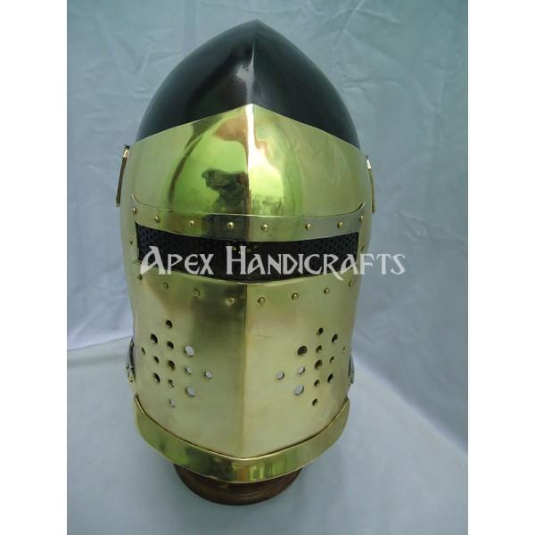 Medieval Barbuta Helmet Golden APX-662