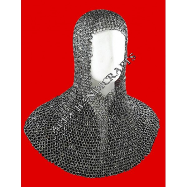 Black Chainmail coif APX-204