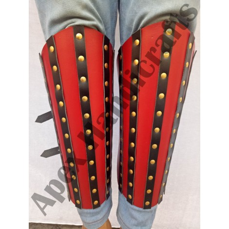 Leather Leg Guard with Brass button Fittings APX-103